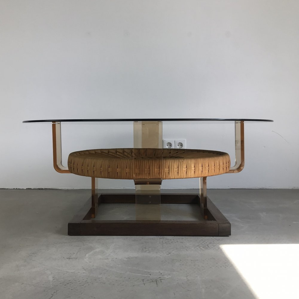 Eclectic Coffee Table with Mixed Materials, Italy 1970s