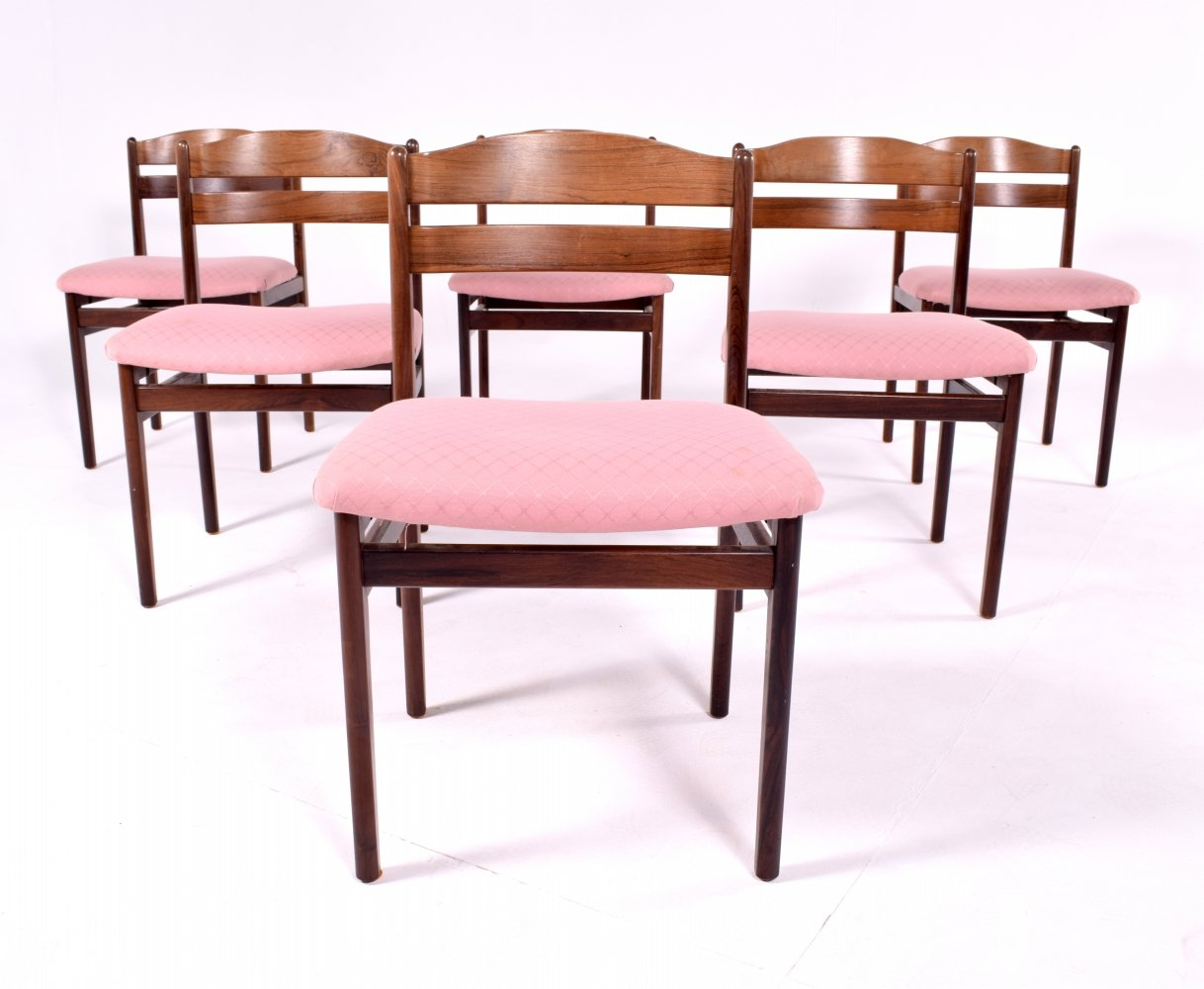 Set of 6 Mid Century Rosewood chairs, Denmark 1960s