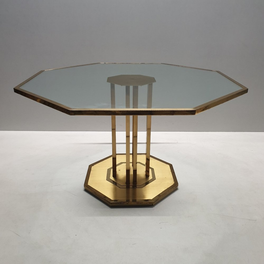French exclusive brass & glass octagonal coffee table