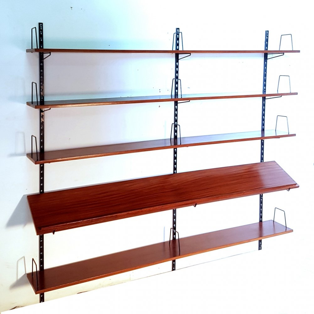 Mid century wall unit with teak shelves, 1960s