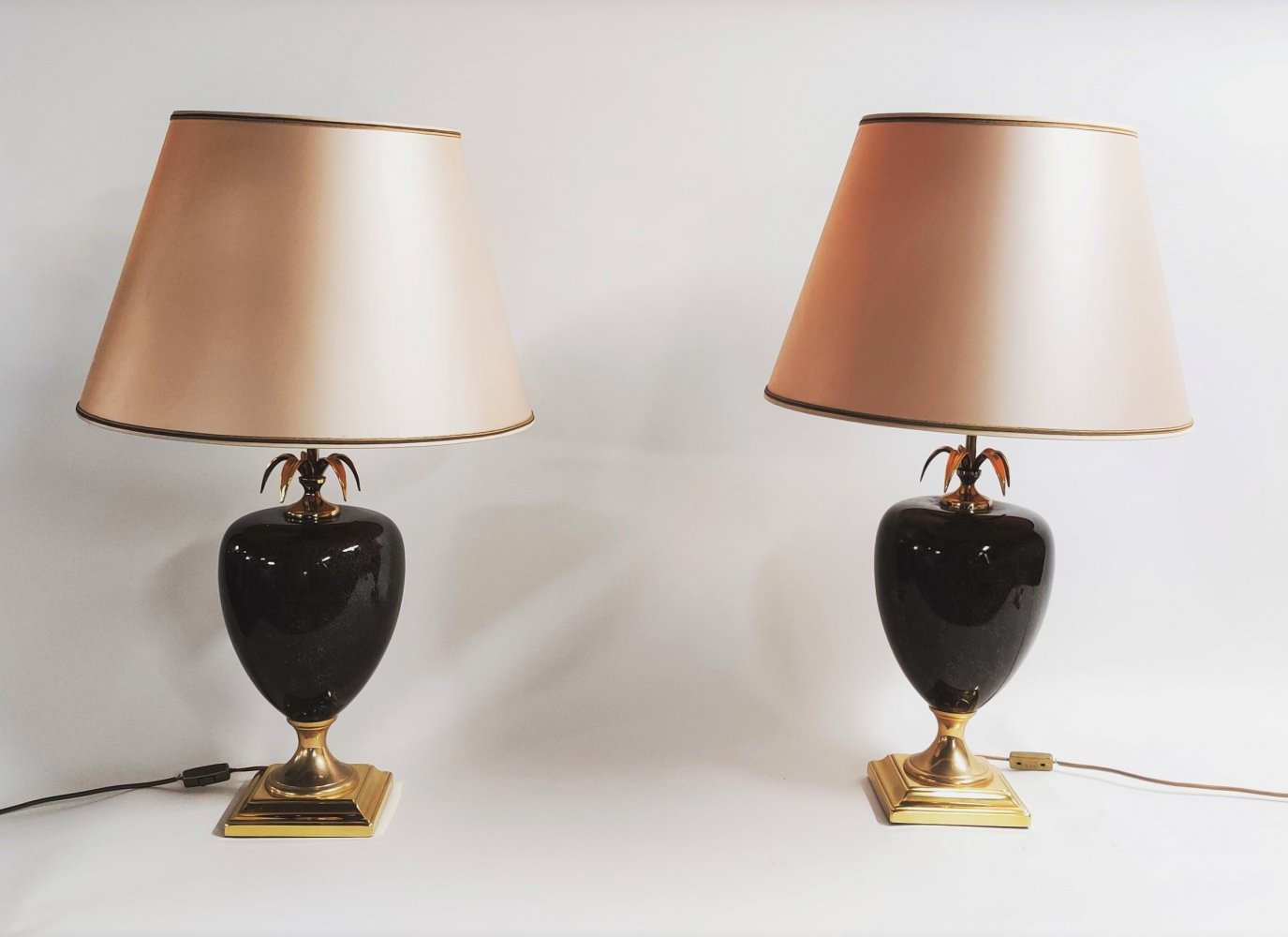 Vintage pineapple table lamps by Maison Le Dauphin, 1970s