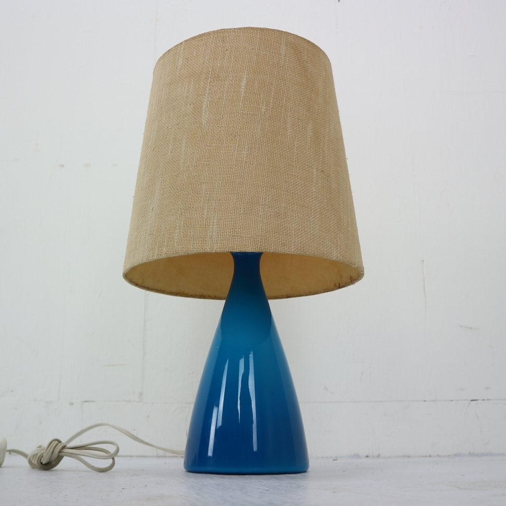 Midcentury Danish Glass Table Lamp by Kastrup Holmegaard