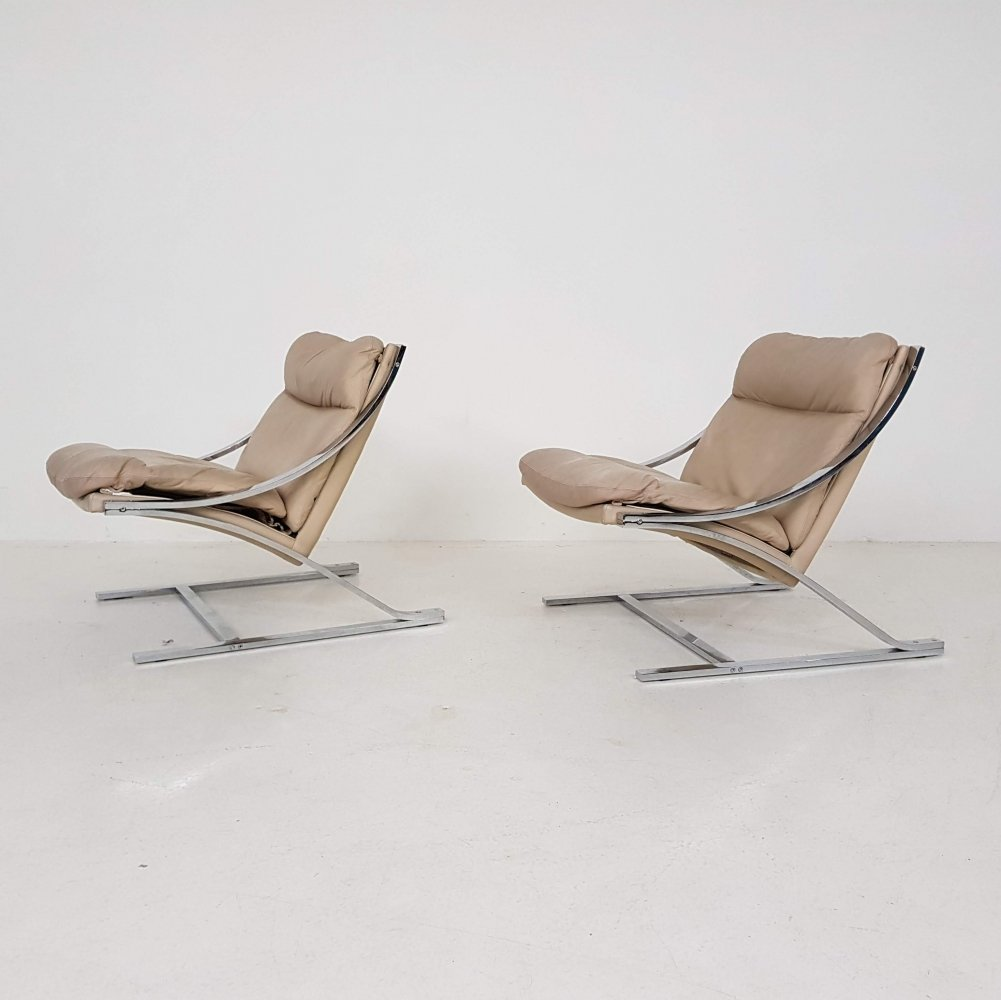 Set of 2 beige leather