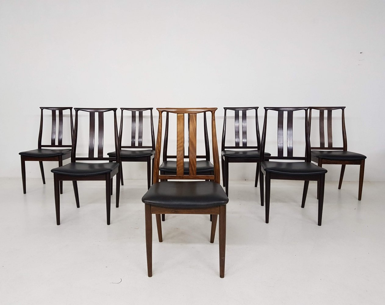 Set of 8 Danish dining chairs with black leather upholstery, 1960s