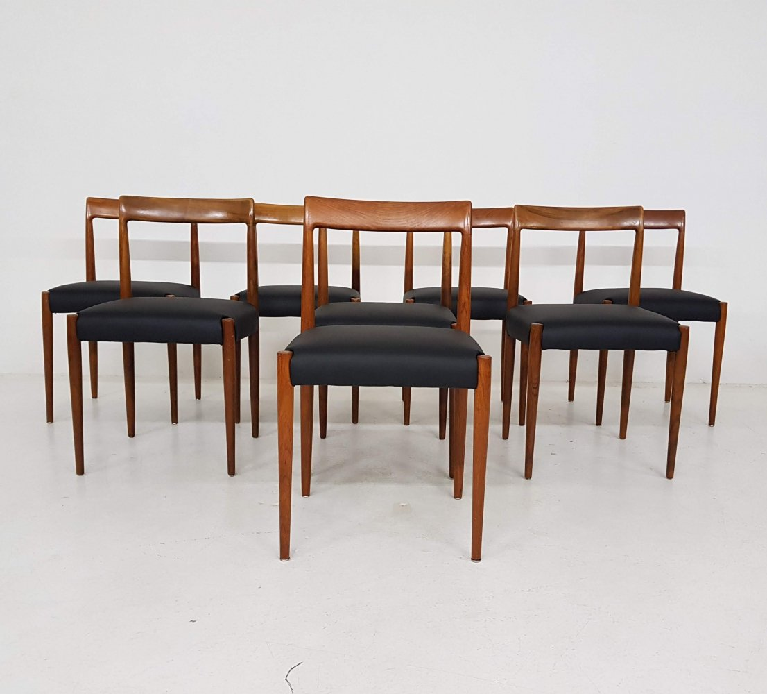 Set of 8 leather Lukbe dining chairs, Germany 1960
