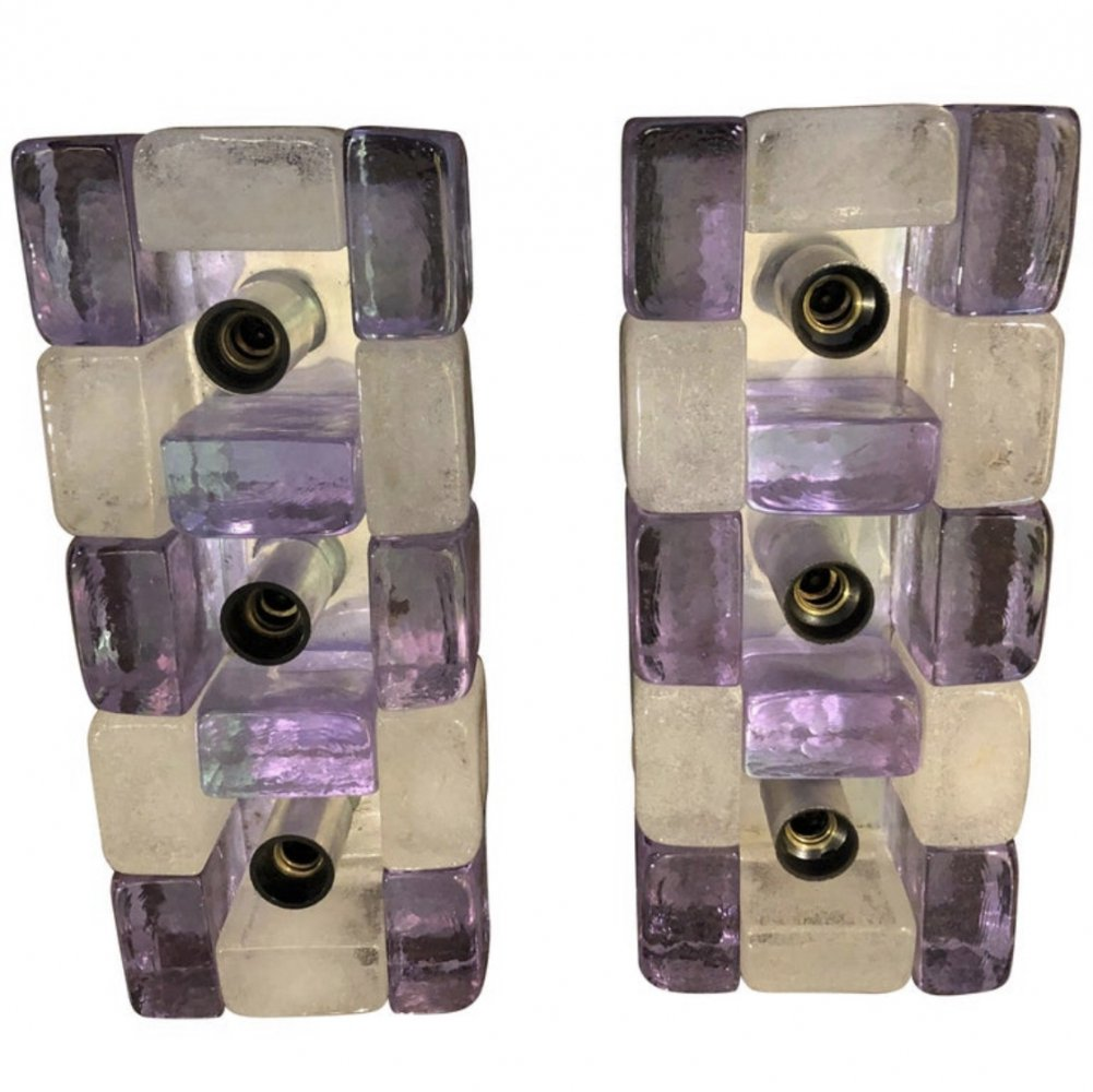 Set of Two Poliarte Mid-Century Modern Murano Glass Wall Sconces by Albano Poli, circa 1960