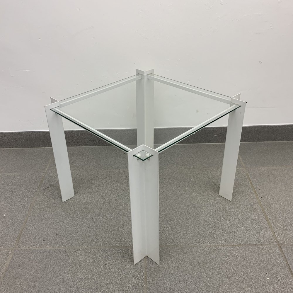 Vintage minimalist glass side table, 1980