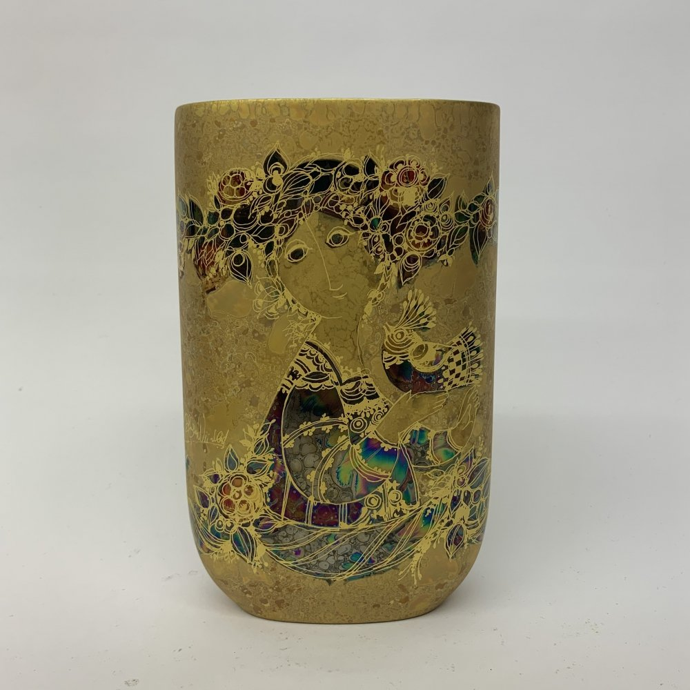 Rare golden ceramic vase by Björn Wiinblad for Rosenthal, 1970