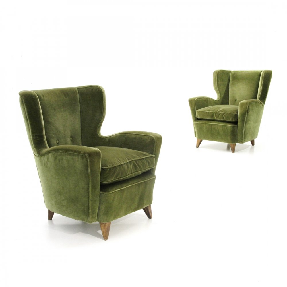 Pair of midcentury green velvet Italian armchairs, 1950s