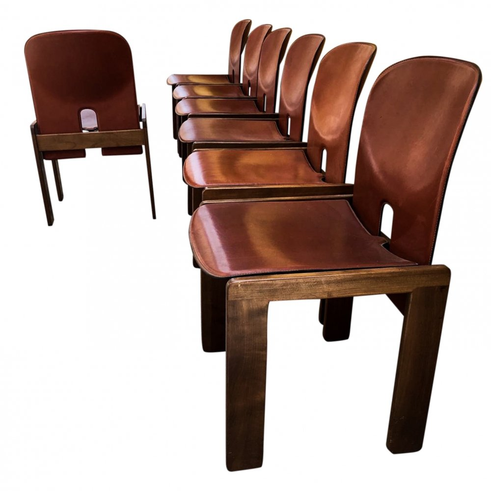 Set of 7 Model 121 dining chairs by Afra & Tobia Scarpa for Cassina, 1965