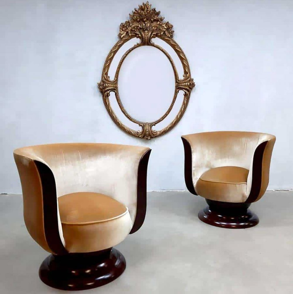 Set of 2 art deco Tulip lounge chairs for Hotel