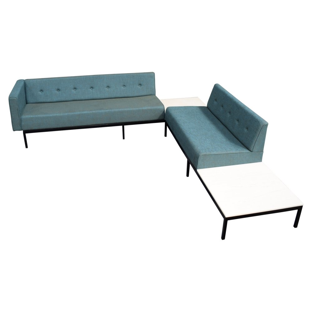 Kho Liang Ie for Artifort 070-series corner sofa with marble coffee table