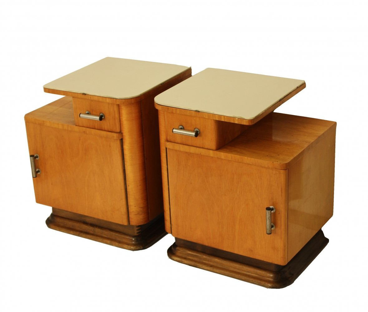 Pair of bedside tables, 1940s