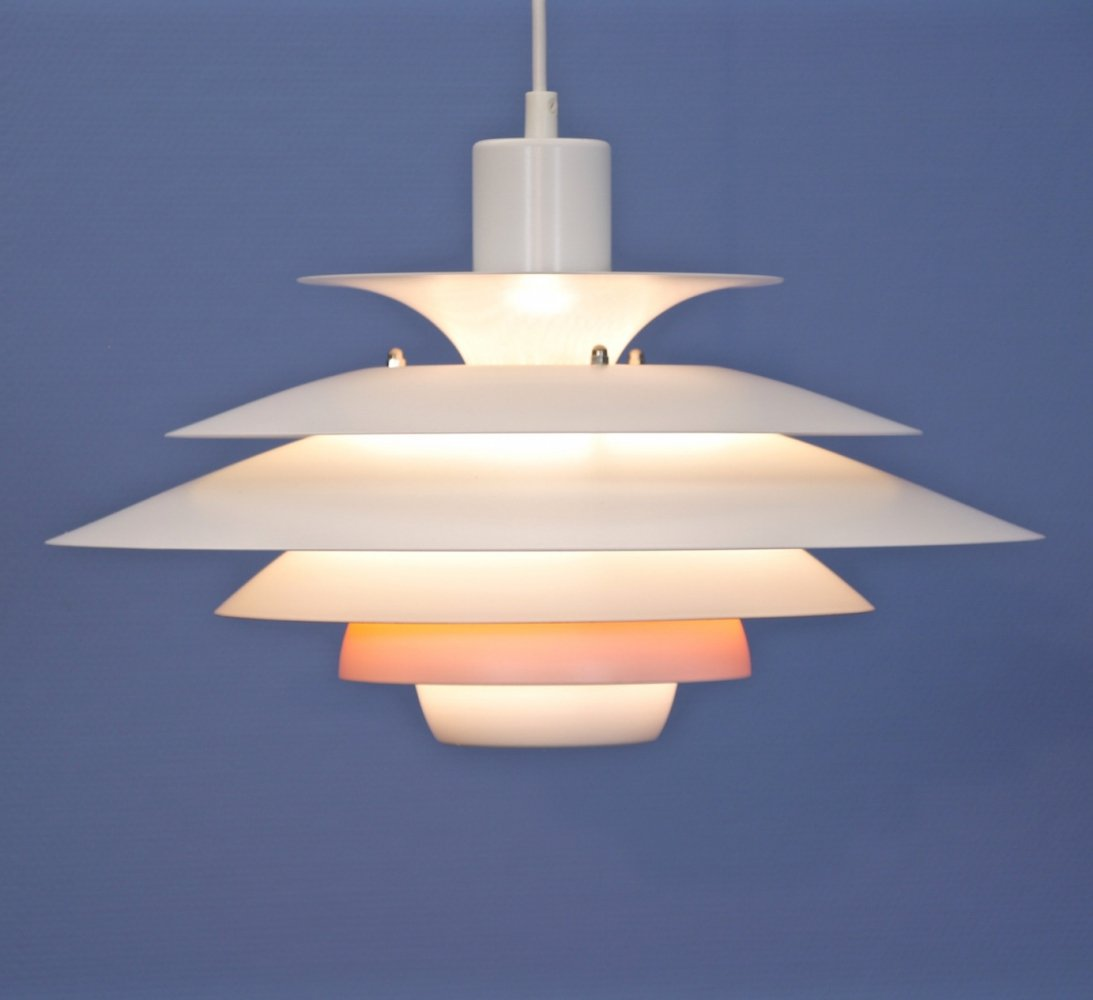 Danish pendant in white with terra / orange accent by Jeka Metaltryk, 1970s