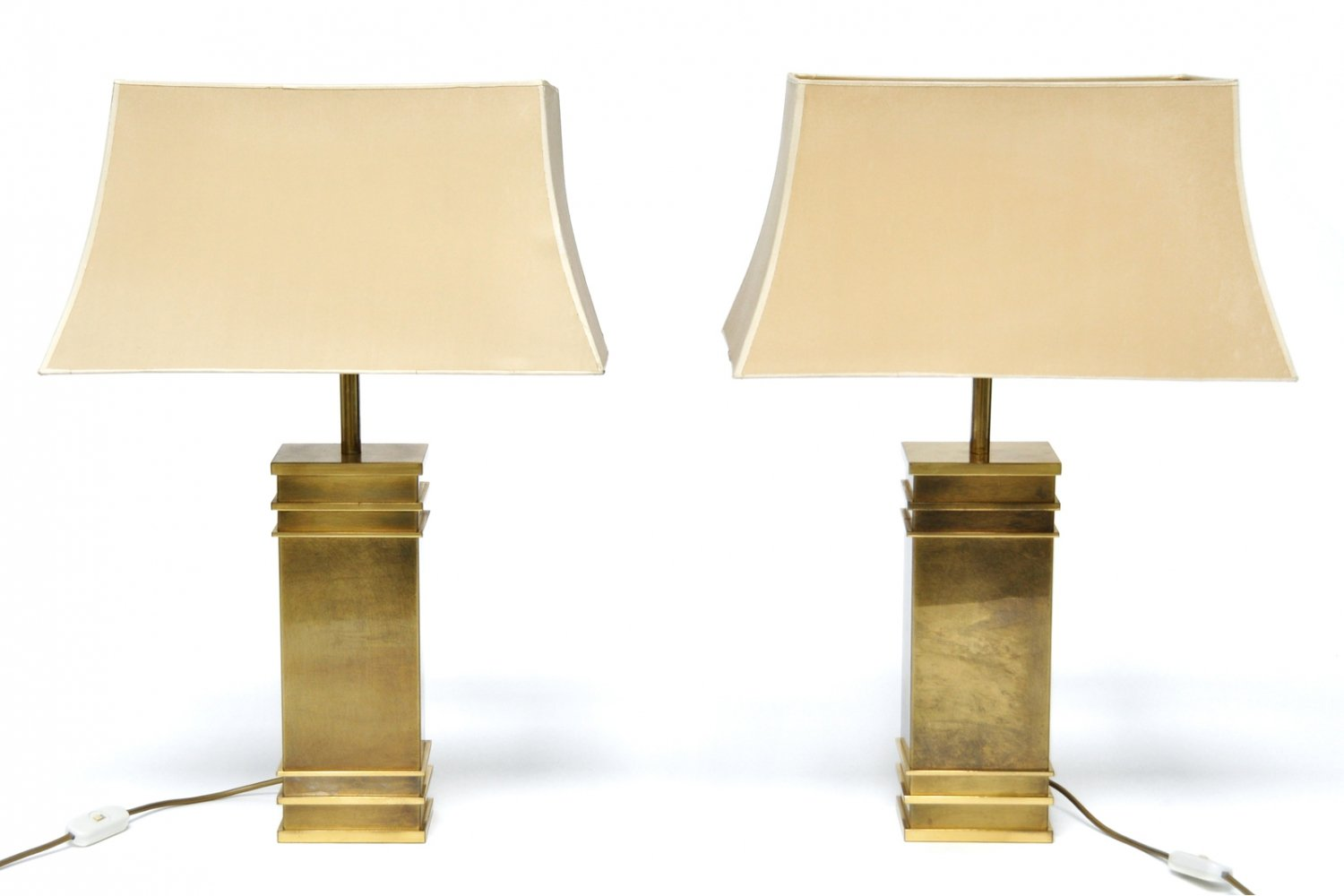 Pair of Vintage Hollywood Regency Brass Lamps, 1970s