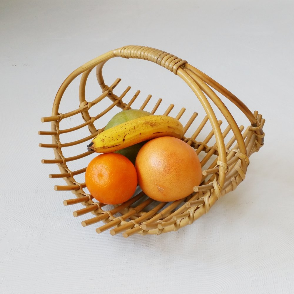 Rattan Fruit Basket, 1960s