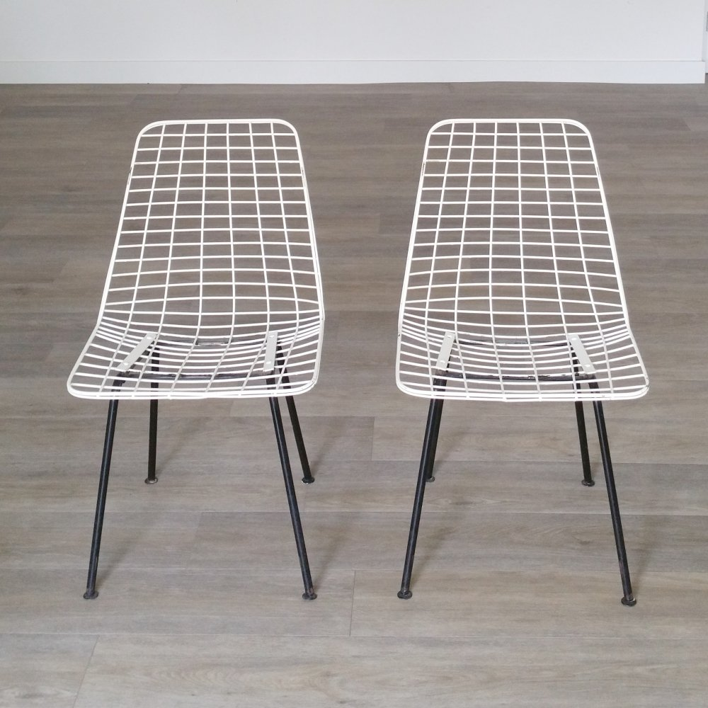 Set of 2 Flamingo Wire Chairs by Cees Braakman, 1950s