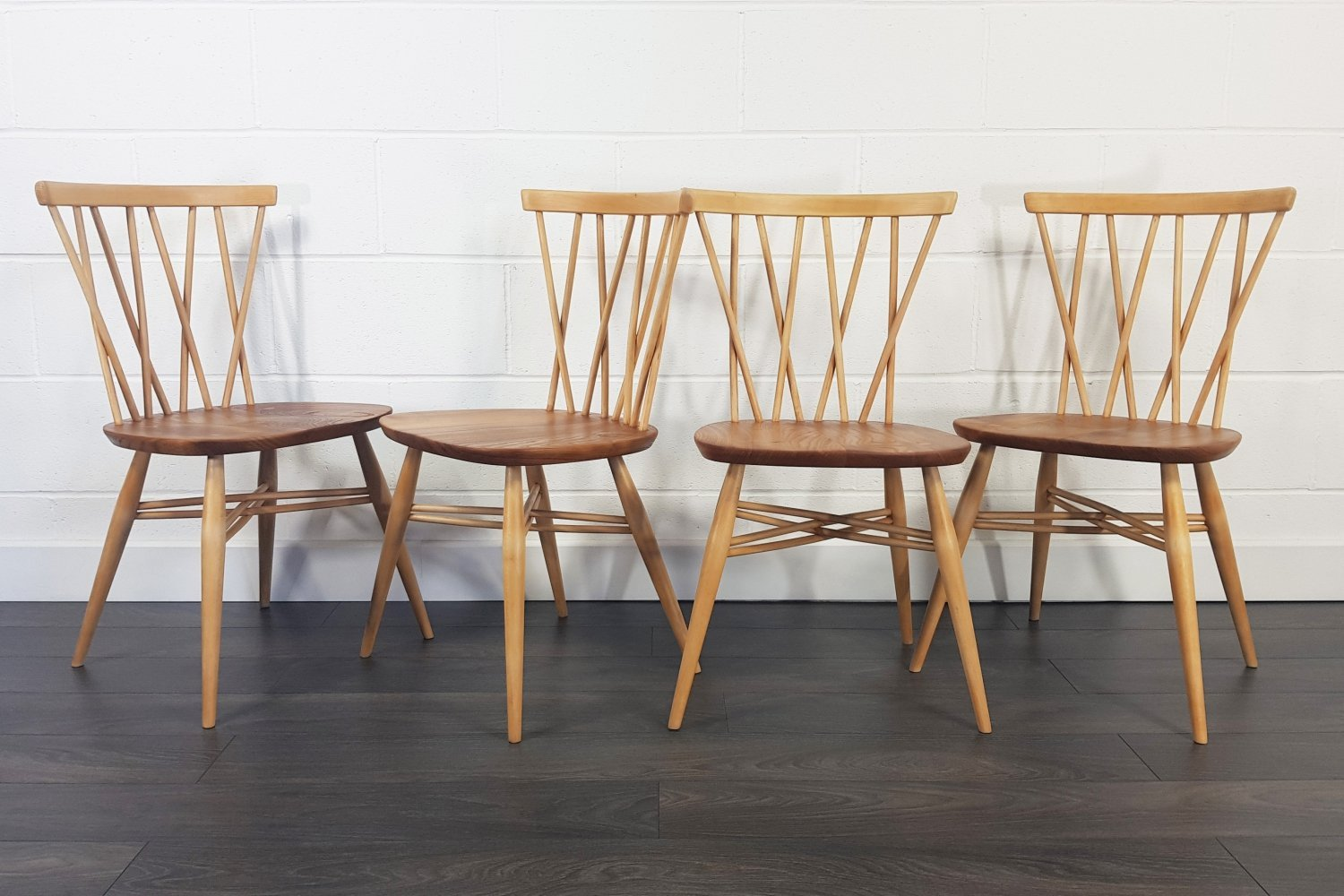 Set of 4 Candlestick Dining Chairs by Lucian Ercolani for Ercol, 1960s