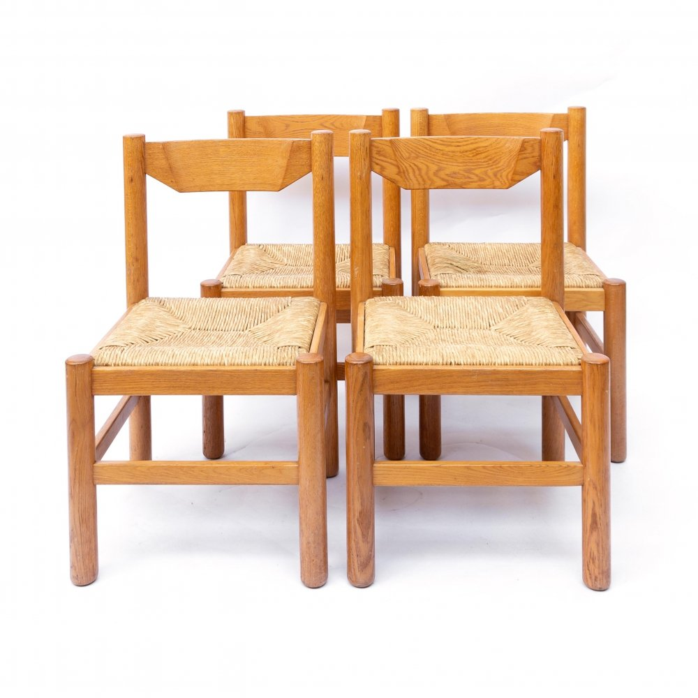Set of 4 Natural Oak Dining Chairs, 1960s