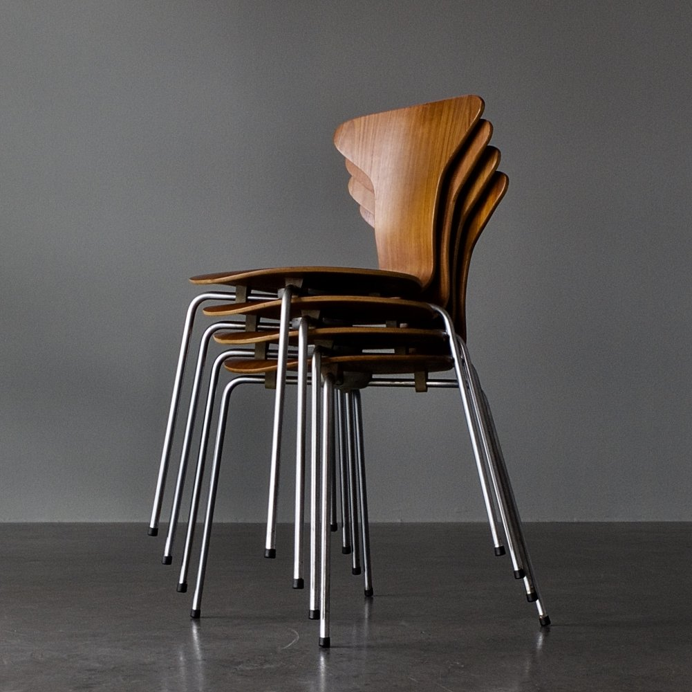 Set of 4 Model 3105 (Mosquito / Munkegaard) dining chairs by Arne Jacobsen for Fritz Hansen, 1960s