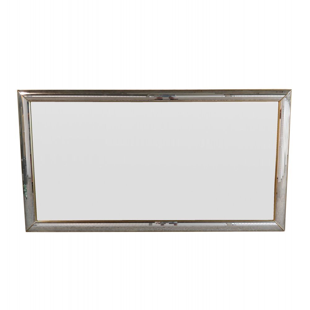 Very large vintage Hollywood Regency Chrome & Brass mirror by Deknudt, 1970