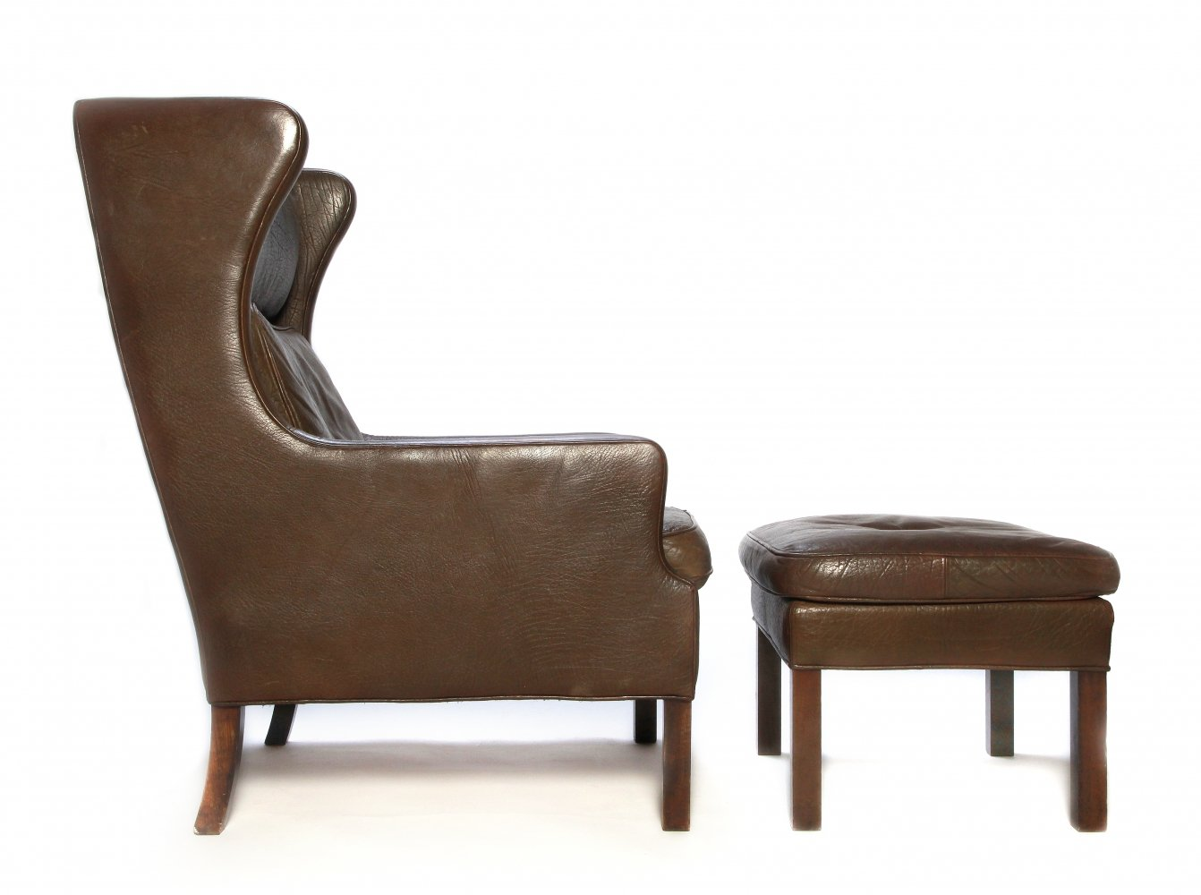 Stouby Denmark leather lounge chair with ottoman