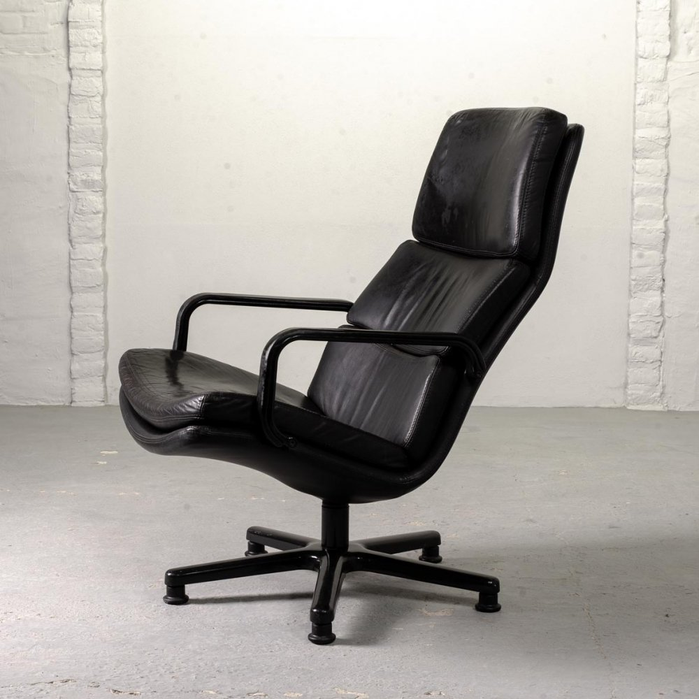 Mid-Century Design Black Leather F-Serie Swivel Lounge Chair by Artifort, 1960s