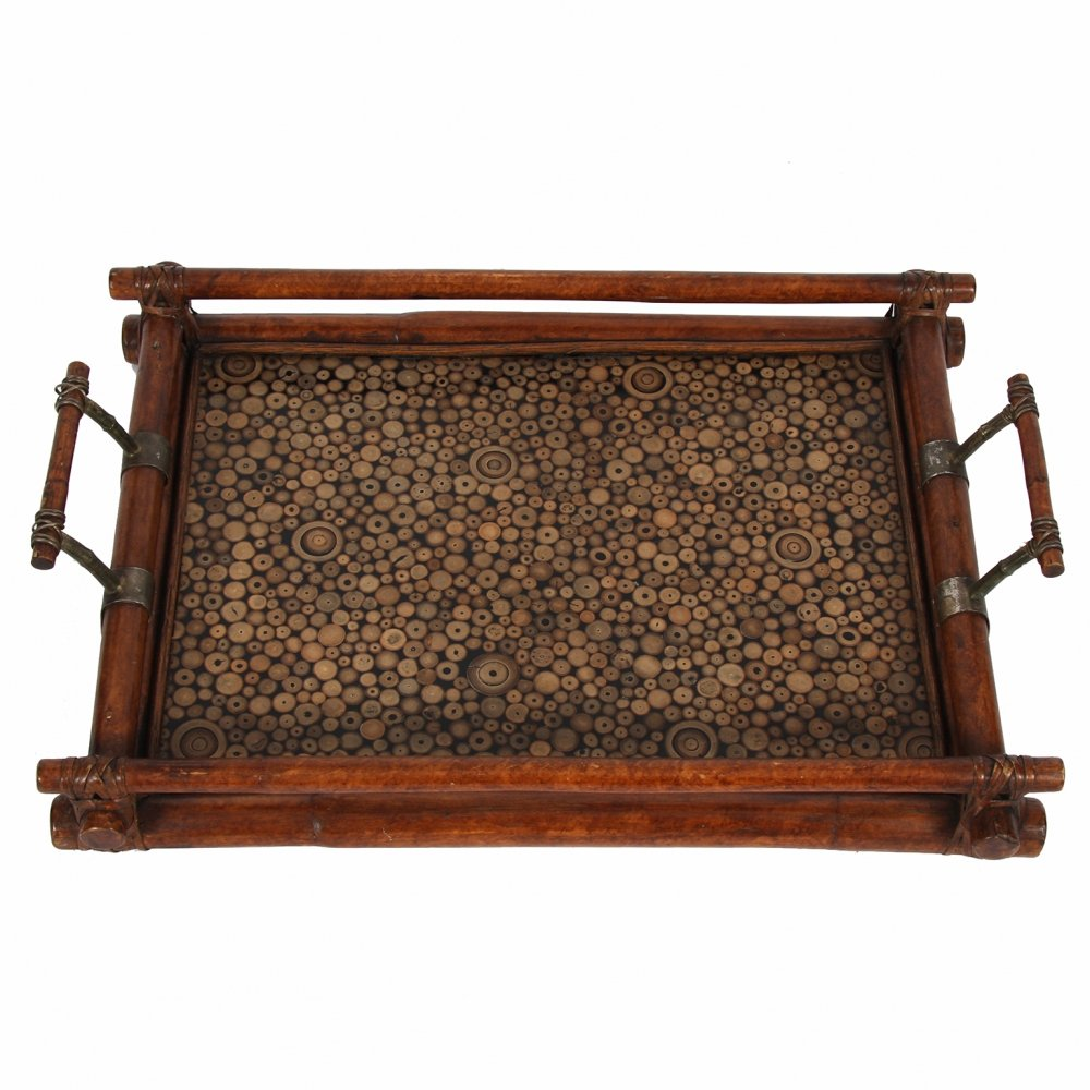 Decorative bamboo section tray, 1970s