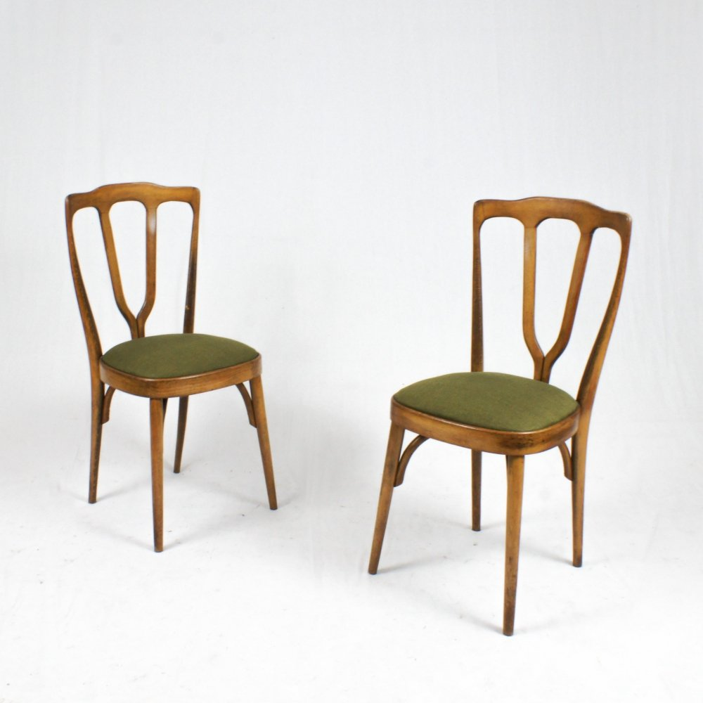Pair of beech wood chairs, Italy 1950s