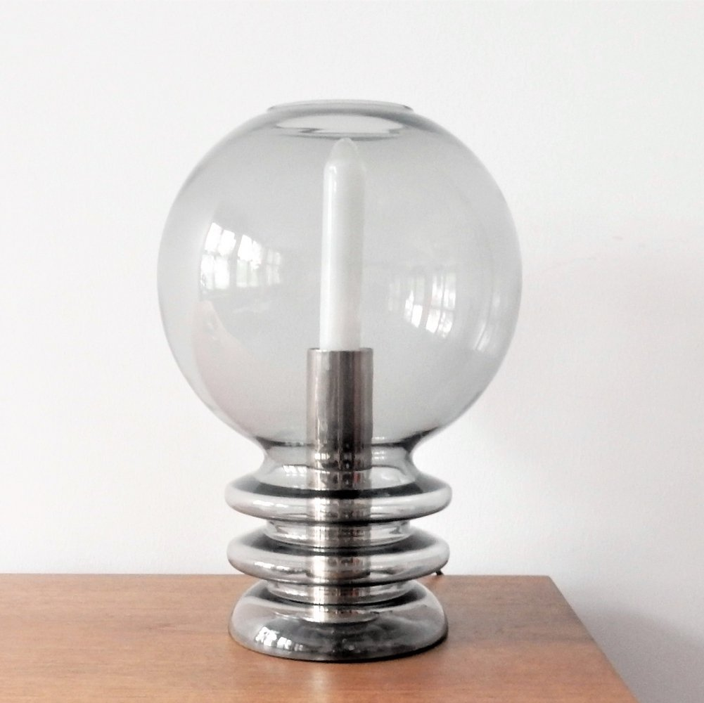 Vintage smoked glass table lamp, 1970