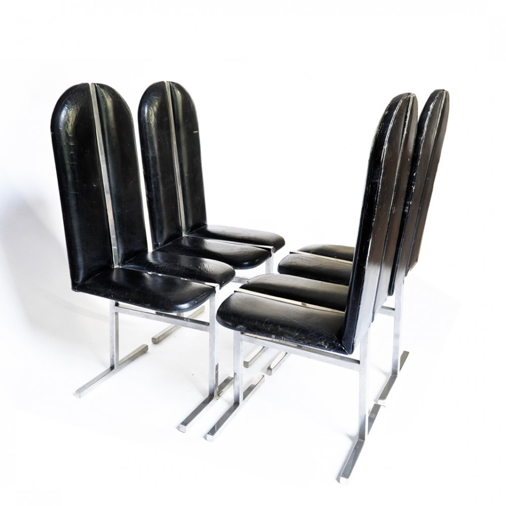 Set of Four Leather Sculptural Bauhaus Chairs by Willy Rizzo, 1970s