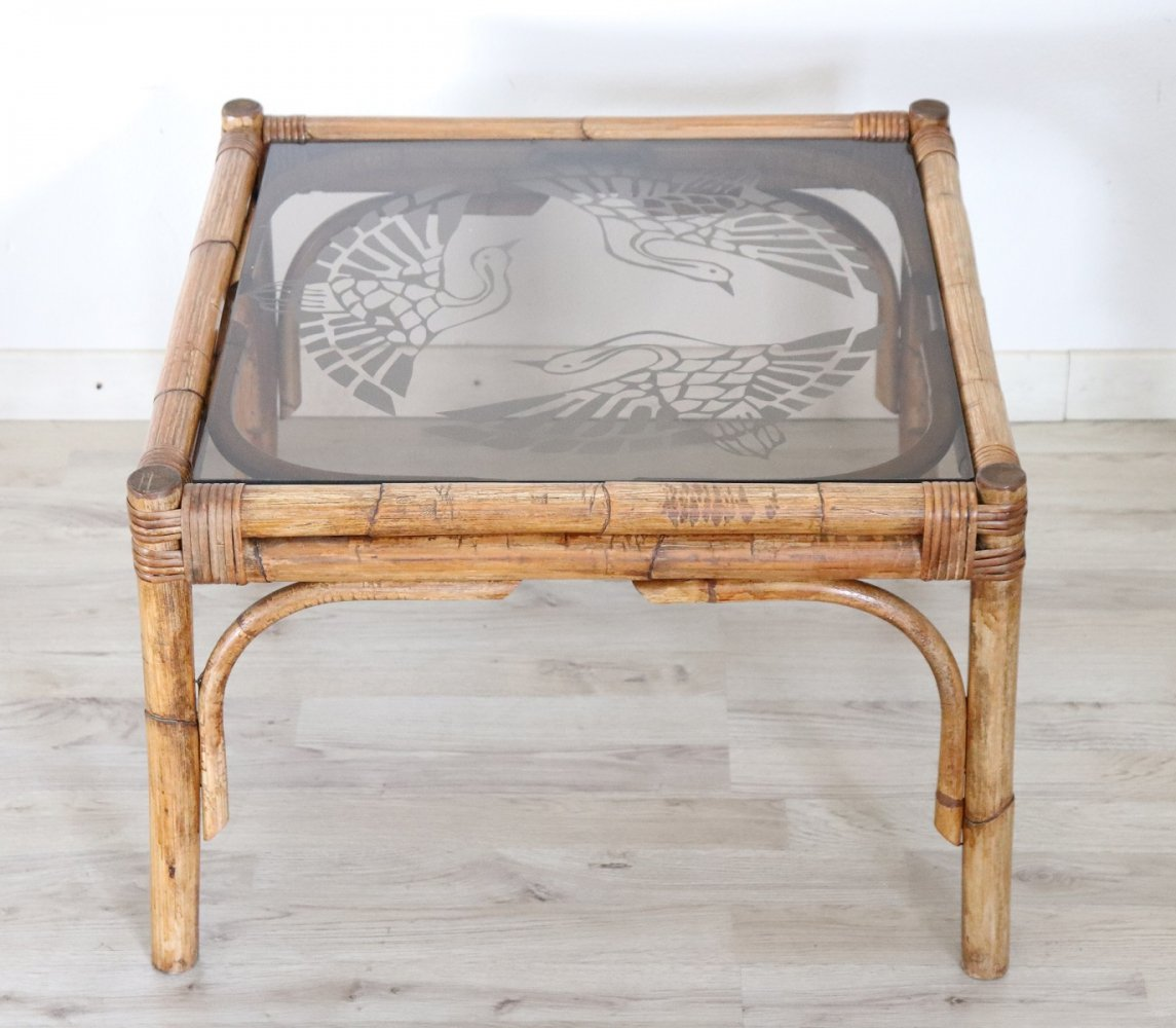 Vintage Bamboo & Decorated Glass Sofa Table or Coffee Table, 1930s