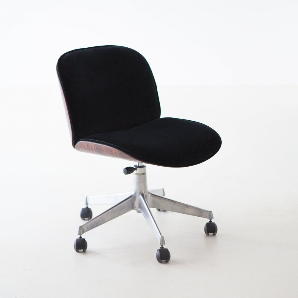 Rosewood office swivel desk chair by Ico Parisi for MiM