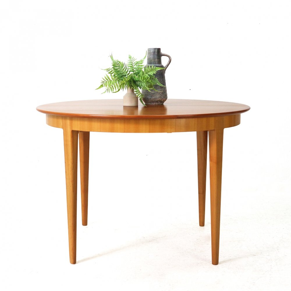 Extendible Round Cherrywood Dining Table by Alma, 1960s