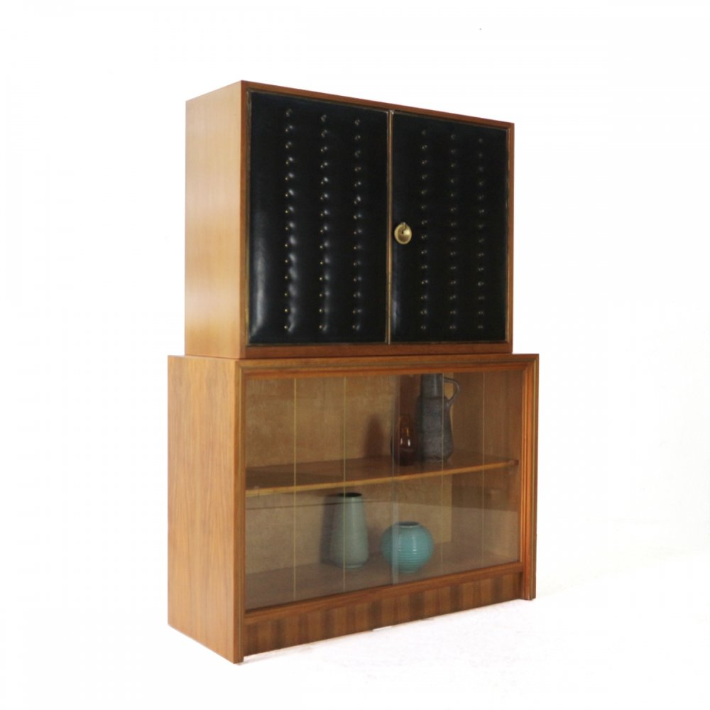 One-of-a-kind 1960s Bar Cabinet with Leather & Brass Doors