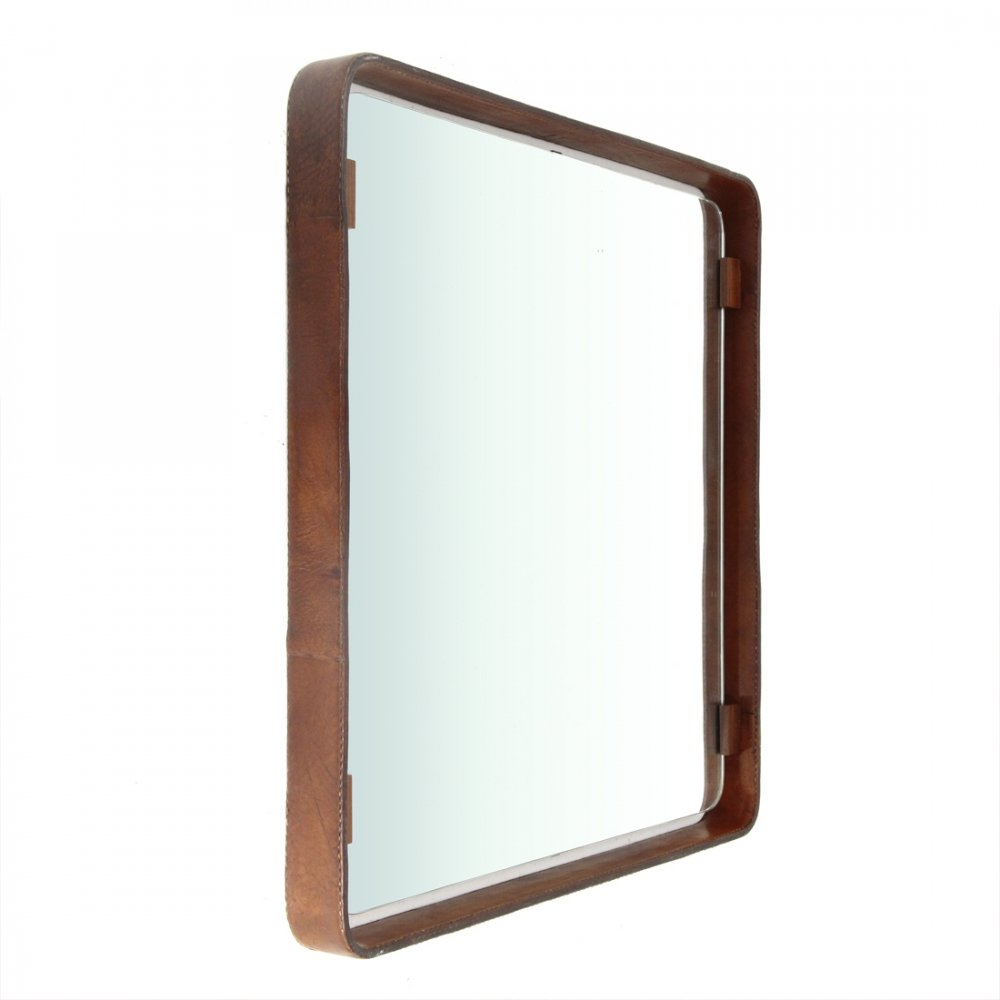 Midcentury square leather frame mirror, 1960s