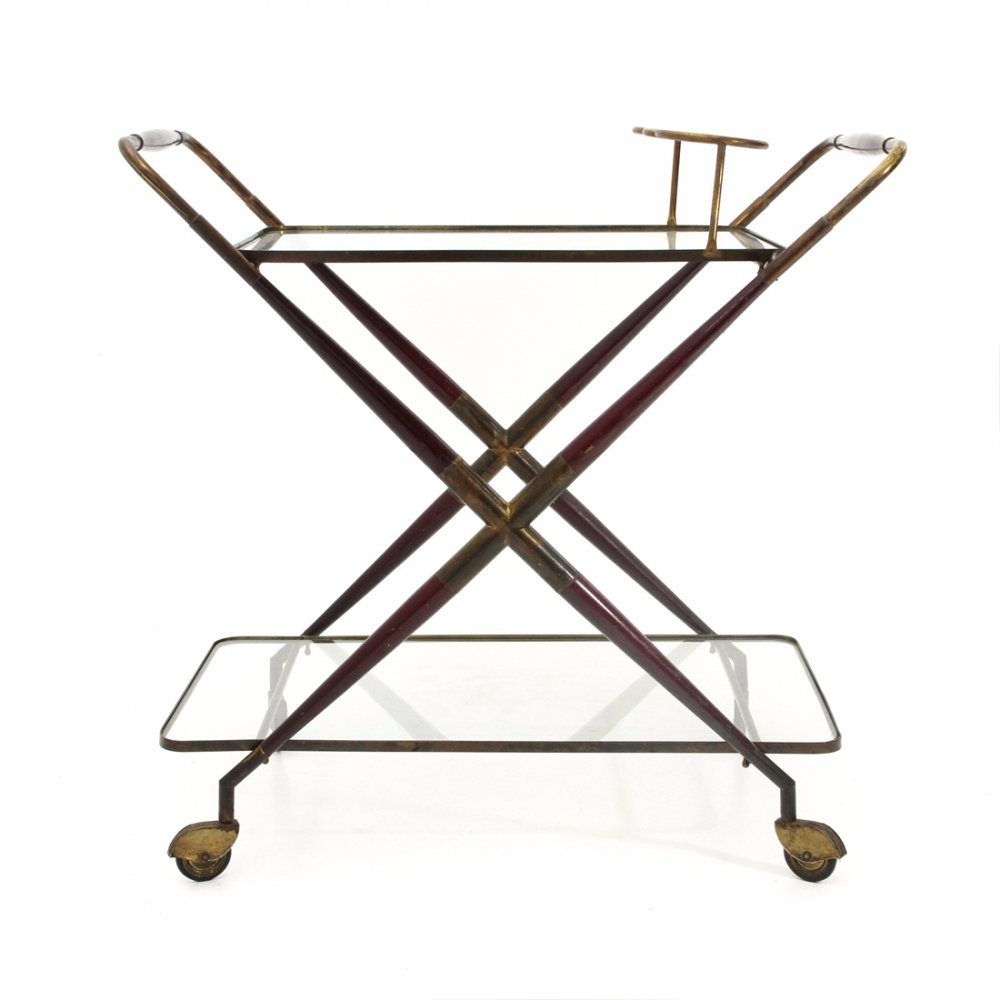 Midcentury wood, brass & glass cart, 1950s