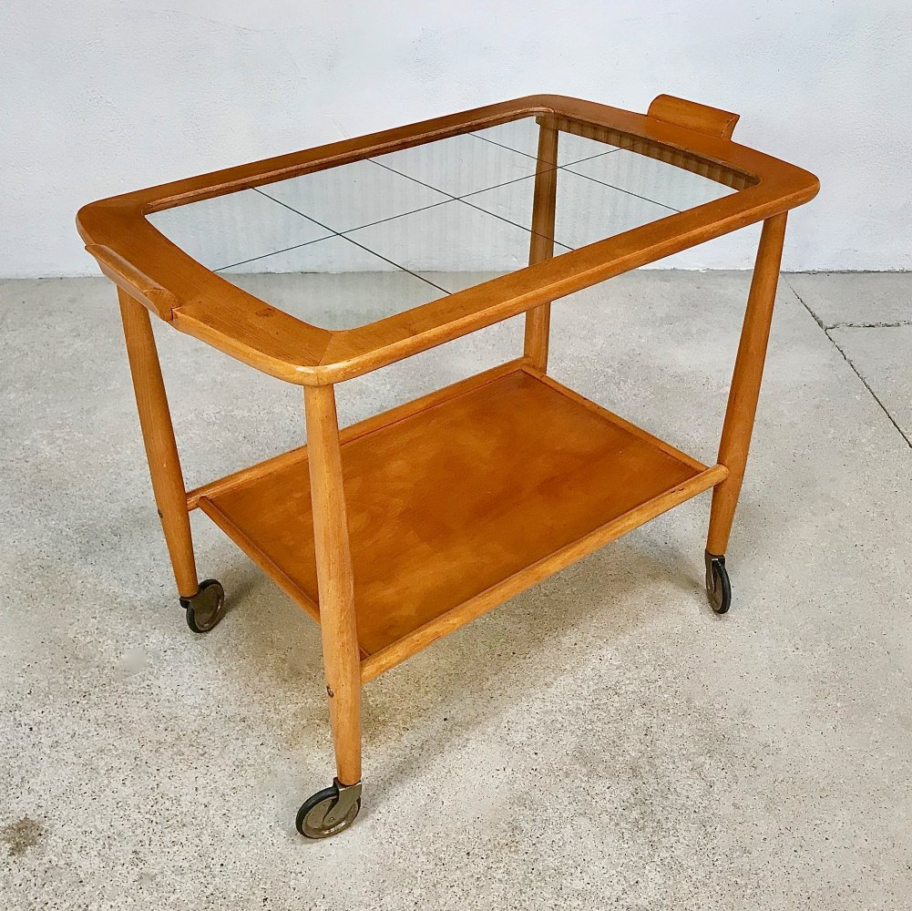German Beech Glass & Brass Serving Trolley, 1950s