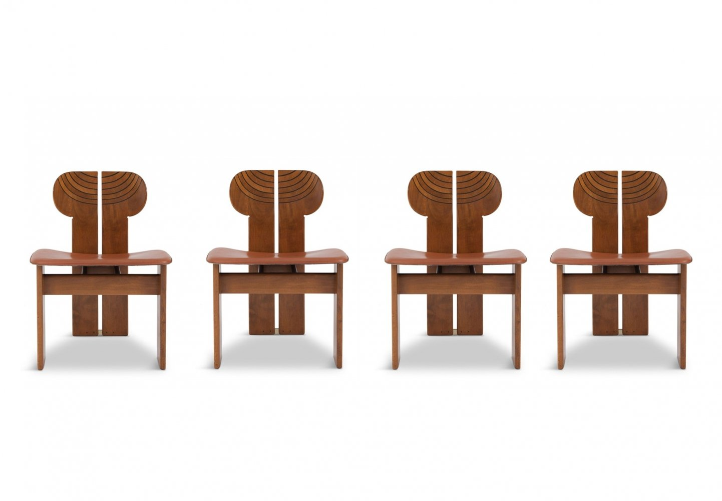 Afra & Tobia Scarpa Africa Chairs with Cognac Leather Seating, 1975