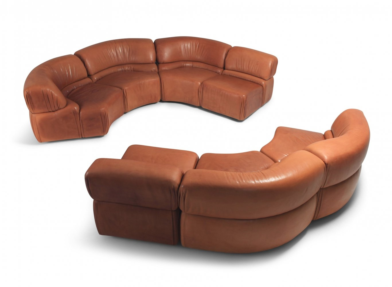 Sectional Cognac Leather Sofa