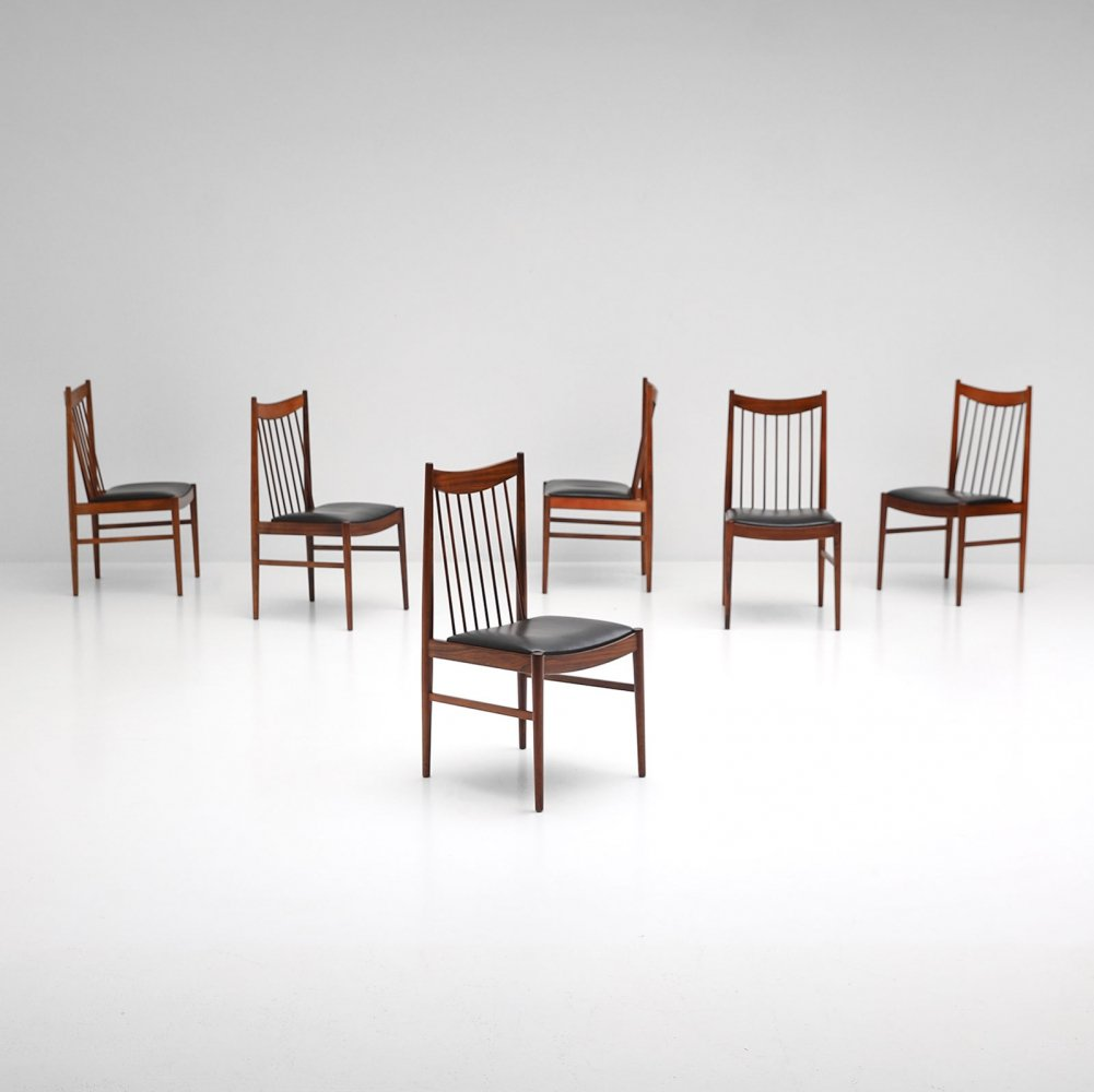 Fine set of Danish modern dining chairs by Arne Vodder for Sibast, 1964