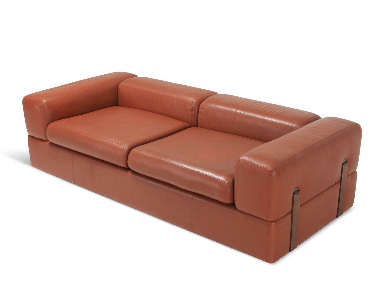 Minimalist Cognac Leather Sofa Bed by Tito Agnoli for Cinova, 1960s
