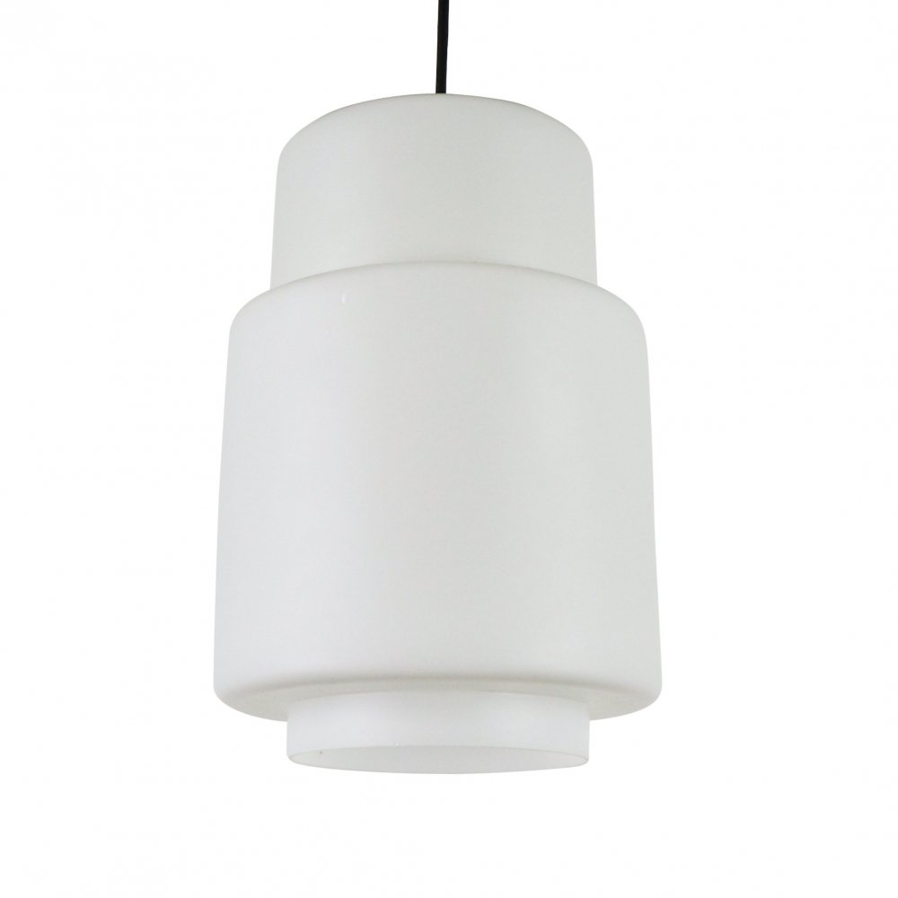 Milk glass pendant with brass detail, 1960s