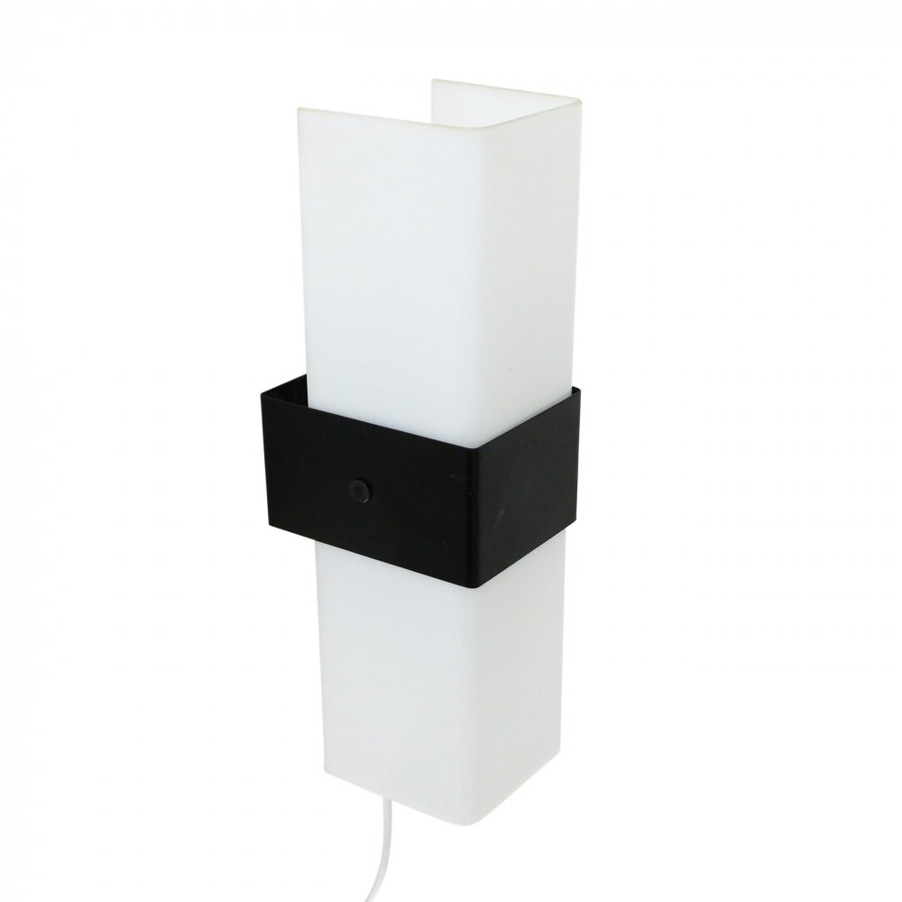White perspex & black metal wall light by Indoor, 1980s