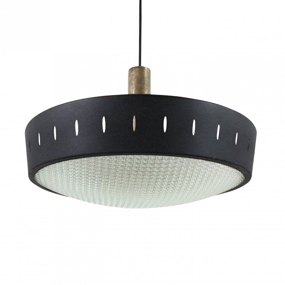 Black metal pendant light with glass diffuser, 1960s