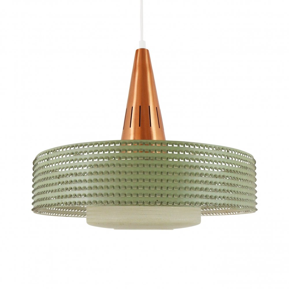Copper & glass pendant with green perforated metal ring, 1960s