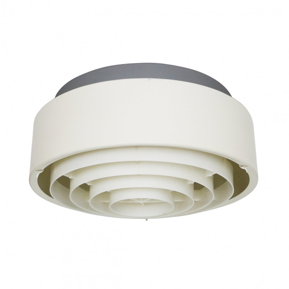 2 x grey & white metal Louis Poulsen ceiling light with plastic diffuser, 1970