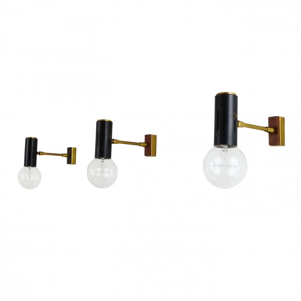 3 x adjustable black metal wall spot with details in brass & wood, 1950s