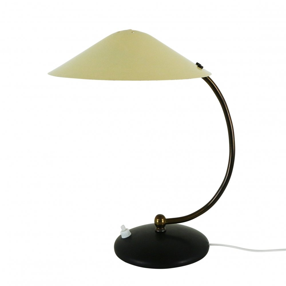 Black & yellow metal desk light, 1950s
