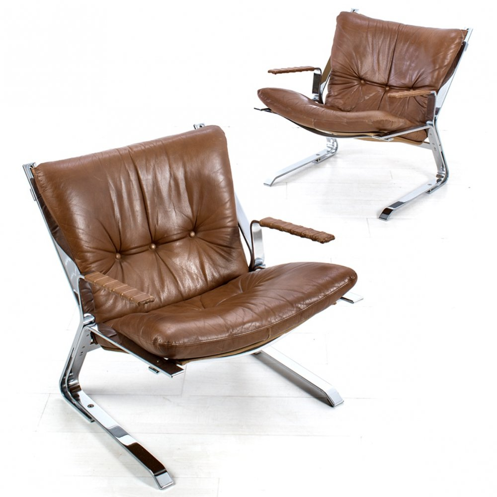 Pair of Pirate chairs by Elsa & Nordahl Solheim for Rykken, 1970s
